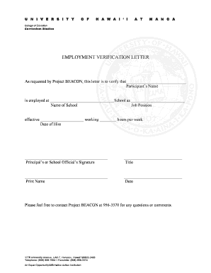 Employment Verification Letter form - University of Hawaii - hawaii