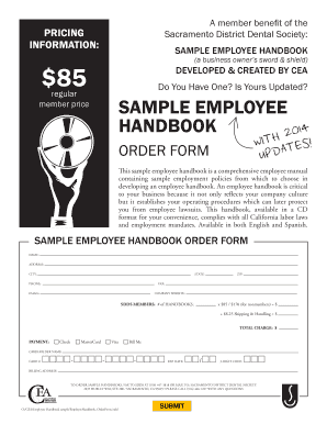 A Member Benefit Of The Sacramento District Dental Society: Pricing  Information: Sample Employee Handbook