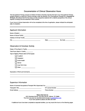 Printable Observation Hours Template Forms And Document