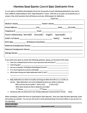 Matthew Road Baptist Church Baby Dedication Form