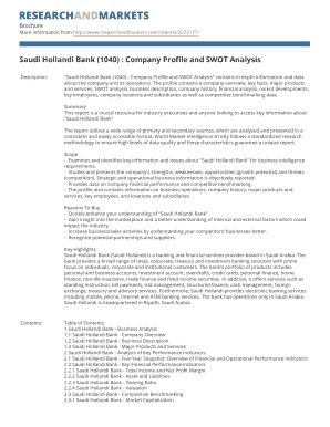 Saudi Hollandi Bank (1040) : Company Profile and SWOT Analysis