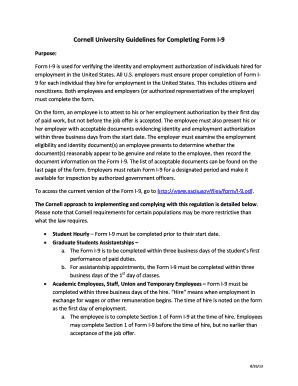 form i-9 guidelines  Fillable Online hr cornell Cornell University Guidelines for ...