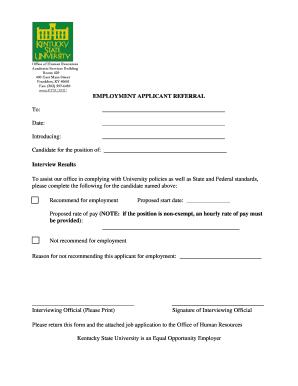 Fillable Online kysu Employment Applicant Referral Form - Kentucky ...