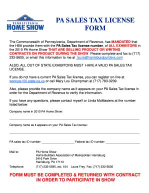 Fillable Online PA Sales Tax form.pub - Pennsylvania Home Show Fax ...