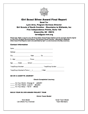Fillable Online Silver Award Final Report Form - Girl Scouts of ...