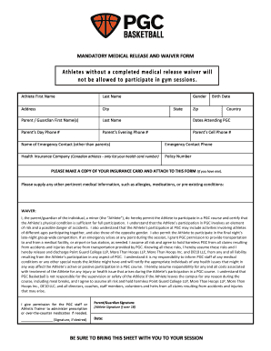 Medical Release and Liability Waiver - PGC Basketball