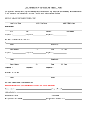 image regarding Printable Emergency Contact Form known as 50 Printable Crisis Get hold of Style Templates - Fillable