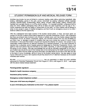 Student permission slip and medical release form - Columbia ...