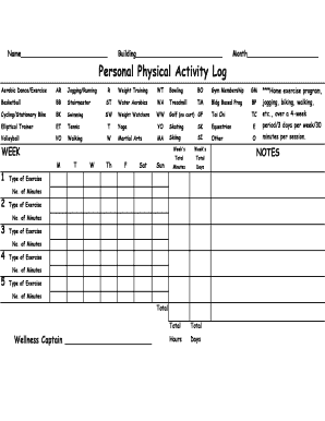 Printable Personal Physical Activity Log USD 501 Personal Physical Actvity Log