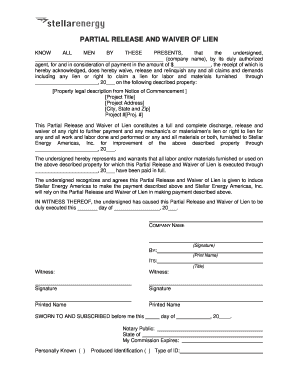 partial lien waiver template - fillable free partial waiver of lien form download