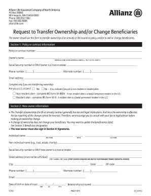Allianz Life Insurance Request For Change Of Beneficiary Form ...