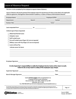 Leave of Absence Request Form (All Leaves) - City of Edmonton