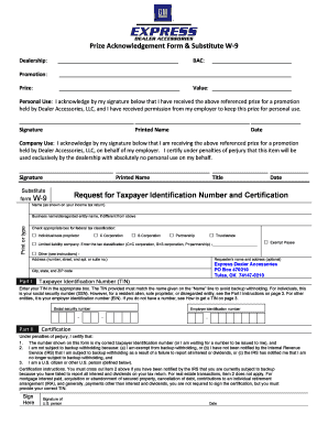 Fillable Online Prize Acknowledgement Form & Substitute W-9 ...