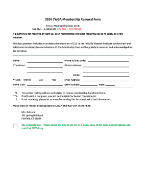 2014 CWGA Membership Renewal Form