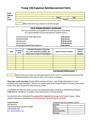 Fillable Online EXPENSE REIMBURSEMENT FORM (pdf) - BSA Troop 156 ...