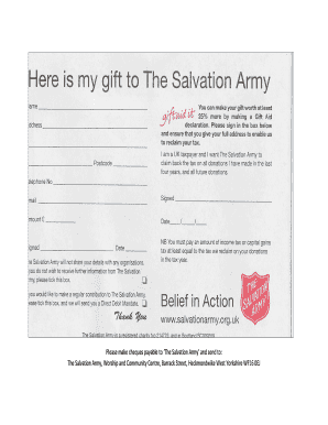 Fillable Online Donation Form Pdf Home Page The Salvation Army Heckmondwike Fax Email Print Pdffiller