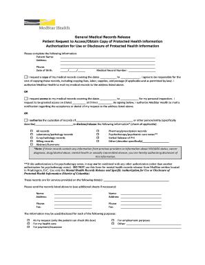 general medical records release form medstar transport