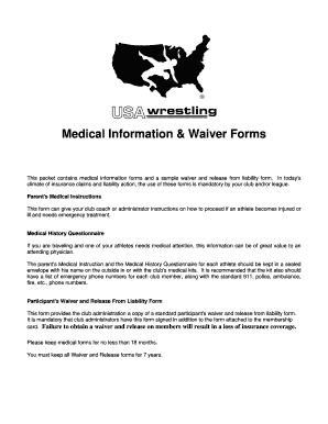 Medical Information & Waiver Forms - Pittsburgh Wrestling Club