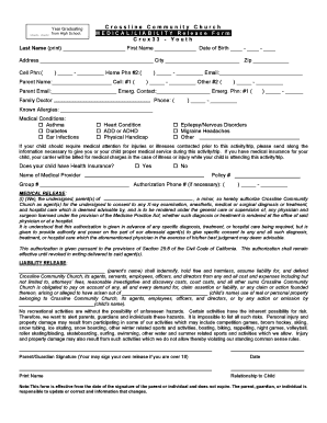 Bill Of Sale Form California Youth Medical Release Form Templates ...