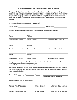 FORM- Consent-Authorization for Consent to Medical Treatment for Minors. Department of Psychiatry and Behavioral Health of the Palo Alto Medical Foundation form