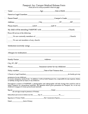 Images Of Parental Consent Form With A Passport For A Camp - Fill ...