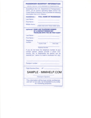 Passenger Manifest Information - Form for U.S. citizen ... - Immihelp