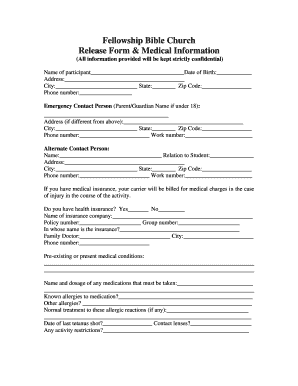 Medical Release Form - Fellowship Bible Church Youth Group - fellowshipbcyouth