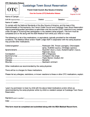 Fillable Online OTC Medical Release Form - Clarion Boy Scout ...