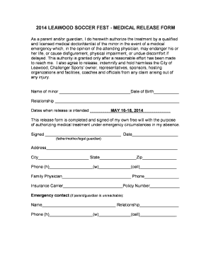 2014 leawood soccer fest - medical release form - Challenger Sports