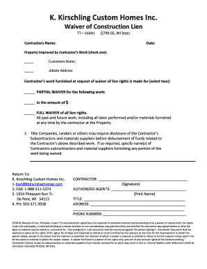 Bill Of Sale Form Wisconsin Waiver Of Construction Lien Templates ...