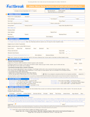 Fastbreak Master Rental Agreement Application Form