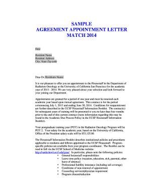 Sample Agreement Appointment Letter - UCSF Radiation Oncology