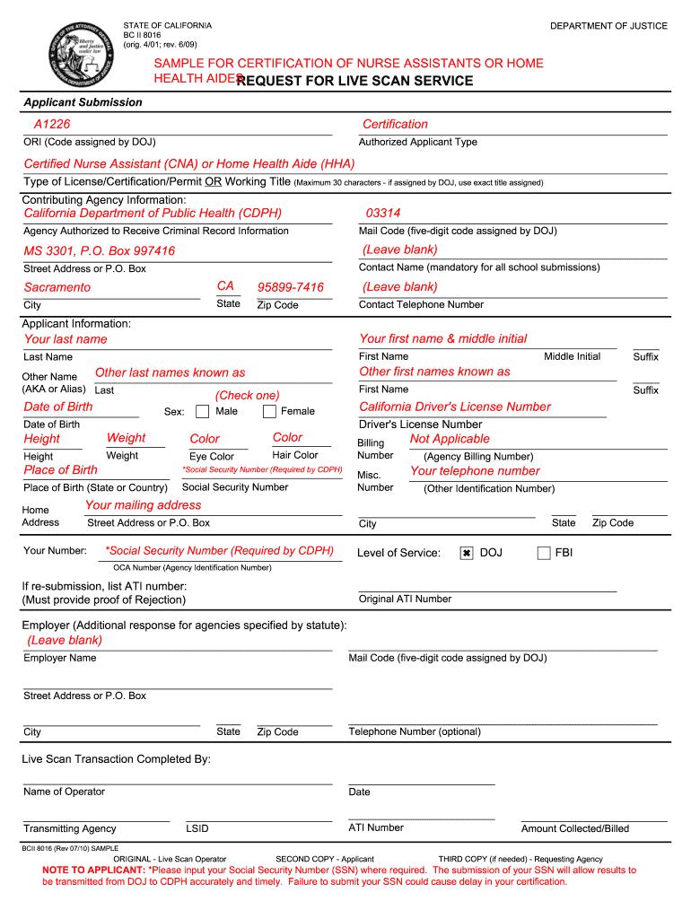 Bcia 8016 Sample Fill Online Printable Fillable Blank Pdffiller