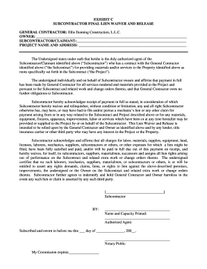 Subcontractor Final Lien Waiver Form - Fill Online, Printable ...
