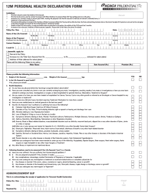 Health Declaration Form Fill Online Printable Fillable Blank Pdffiller