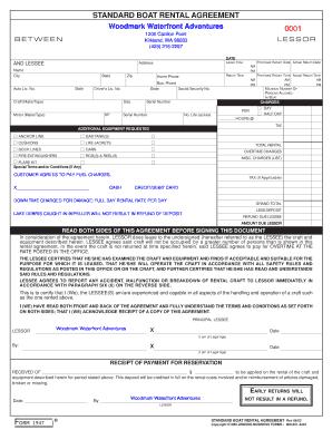 Fillable Online Standard Boat Rental Agreement 0001