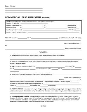 Fillable Online Commercial Lease Agreement Short Form