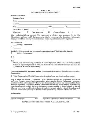Fillable Online 401k Salary Deferral Agreement - Paradigm Benefits ...