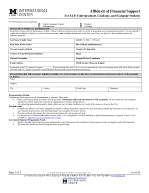 Affidavit Of Financial Support Pdf Michigan Flint University Form