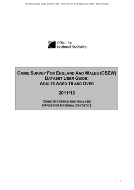 UK Data Archive Study Number 7280 - Crime Survey for England and Wales Secure Access - doc ukdataservice ac