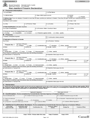 Canada Firearms Declaration Form - Fill Online, Printable ...