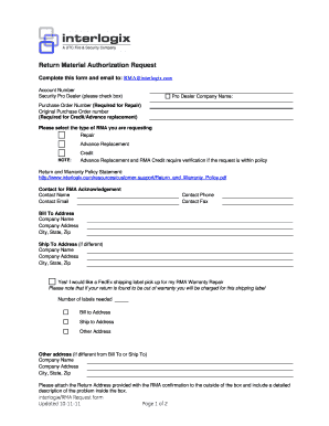 Fillable Online Download RMA Request form (PDF) - UTC Fire ...