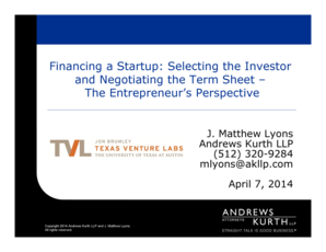 Microsoft PowerPoint - TVL Fall 2014 - Term Sheet Presentation - Lyons - 4714pptppt Compatibility Mode