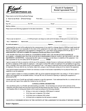 Equipment rental agreement forms and templates fillable for Equipment hire form template