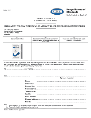 kenya bureau of standards renewal forms