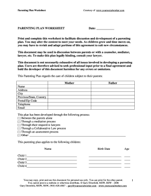 Parenting Agreement Worksheet: parenting plan worksheet fill online printable fillable blank ,