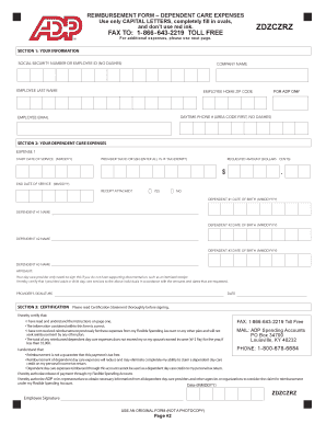 Fillable Online Dependent Care FSA Claim Form - ADP Flexible ...