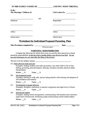Worksheets Parenting Plan Worksheet bill of sale form west virginia worksheet for individual proposed fill now
