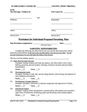 Worksheets Parenting Plan Worksheet bill of sale form west virginia worksheet for individual proposed fill now