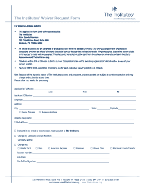 Cpcu Waiver Request Form
